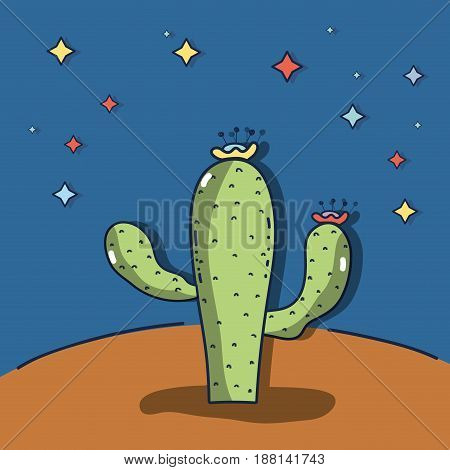 desert landscape with a cactus in a beautiful nigth, vector illustration