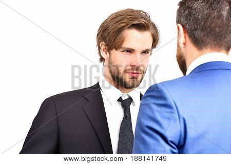 Aggressive Men In Jacket Speaking With Businessman