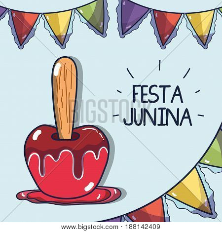 sweet apple related with the festa junina celebration, vector illustration