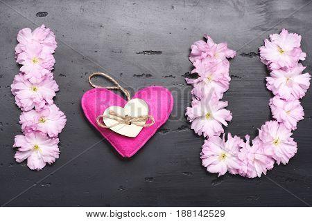 Stylized Inscription I Love You Made Of Japanese Blooming Sakura
