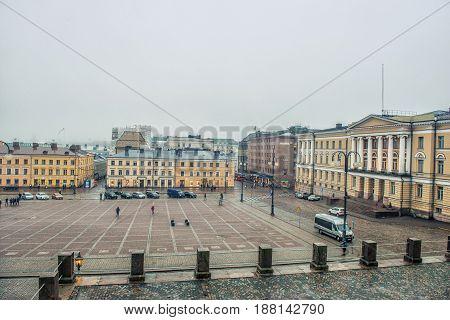 HELSINKI FINLAND - JANUARY 28 2017: City landscape. Senate Square