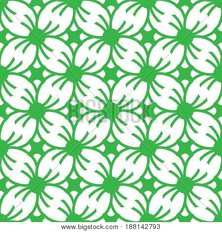 Big four leaf graphic generated as a module graphic is on the green background. This pattern can be used for textile carpet wallpaper curtain and etc.