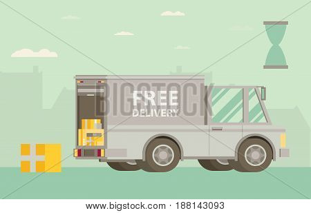 Vector Free Shipping car in flat style