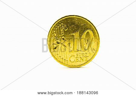 A coin value of ten Euro centson on a white background