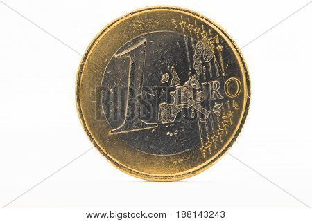 One Euro denominated coin isolated for background