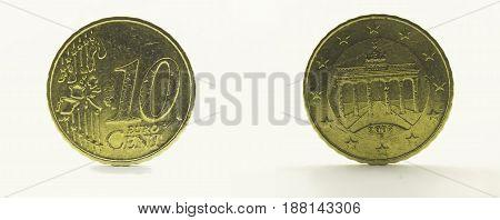Coin Germany 10 euro cent 2002. Brandenburg Gate