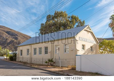 MONTAGU SOUTH AFRICA - MARCH 26 2017: The building of the ACCV a womans movement in Montagu a town in the Western Cape Province