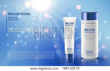 Blue background with realistic 3D vector moisturizing cosmetic cleansing premium products. Premium VIP cosmetic ads