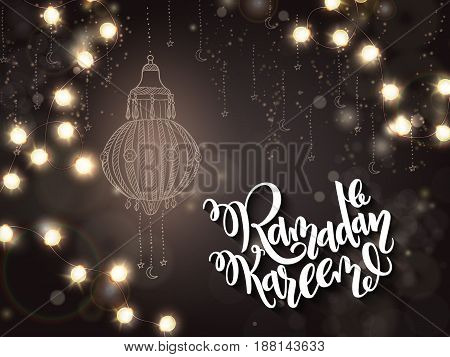 vector illustration of hand lettering greetings text - ramadan kareem with shining lights, bulbs garland and flashlight on background.