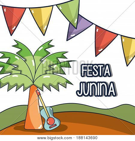 desert landscape with a palm and guitar concept celebrating festa junina, vector illustration