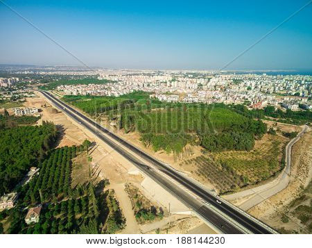 aireal drone top view photo of highway Antalya Turkey