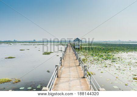 Bridge view lake nonghan Sakon Nakhon Province Thailand