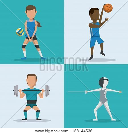 blue and white square buttons set of athletes with variety sports vector illustration