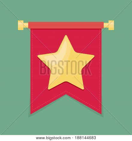 Gold star on the flag icon flat vector