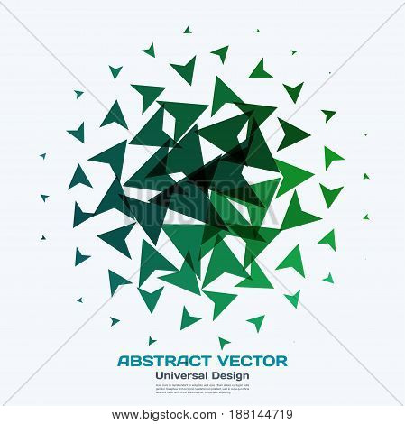 Abstract vector design elements for graphic layout. Modern business background template with green triangles, arrows, geometric shapes for tech, innovative technology.