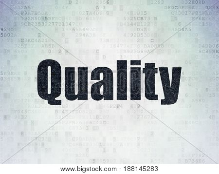 Advertising concept: Painted black word Quality on Digital Data Paper background