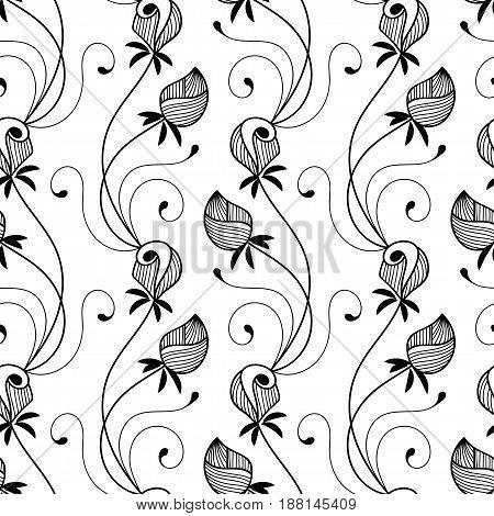 Seamless monochrome floral pattern. Hand drawn vector illustration