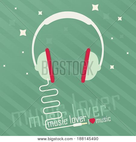 Audio headphone. Music lover background. Flat vector.