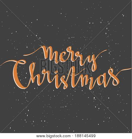 Merry Christmas greeting card on dark background with snow. Season vector holiday poster template. Handwritten text.