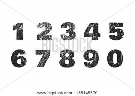 Set of grunge numbers with peeled metal texture. Distressed vector illustration. Isolated one two three four five six seven eight nine zero for design