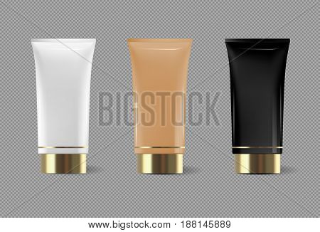 Cream or cream tube vector isolated template for skin care product. Premium face moisturizer packages set with golden cap or lid on transparent background