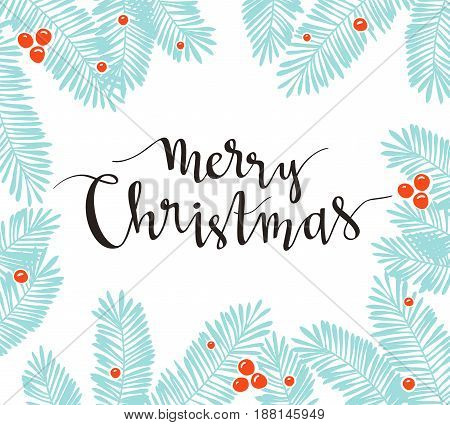 Christmas pine frame with holiday lettering - Merry Christmas. Vector illustration for greeting cards invitations and other printing projects.