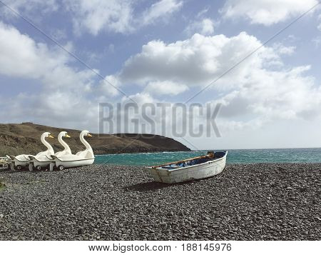 Fuerteventura: swan-shaped pedal boat on the black beach of Pozo Negro in lava beach.