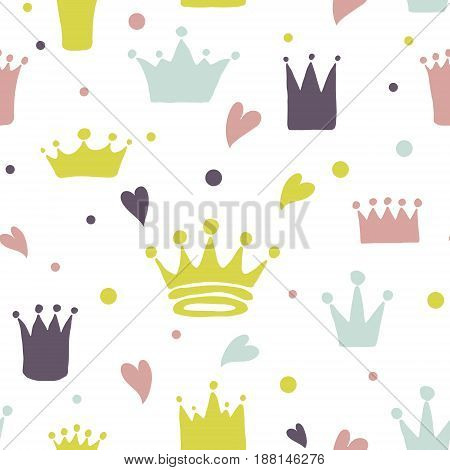 Cute pattern with hand drawn crowns and hearts. Template design for young princess or prince.