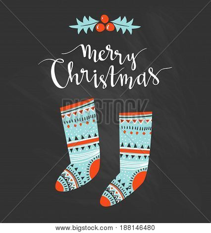 Hand-written Christmas lettering and christmas socks for gifts isolated on white background. Season vector holiday design with calligraphy - Merry Christmas.