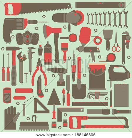 Hand tools icon set flat design eps10 vector format