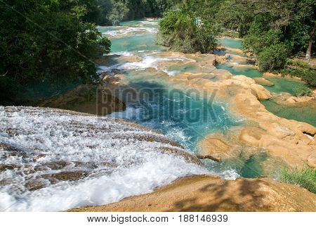 Aqua Azul Waterfall On Chiapas