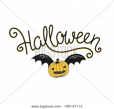 Halloween lettering greeting card. Vector holiday poster. Hand drawn stylish illustration with text and pumpkin with wings on the confetti background.