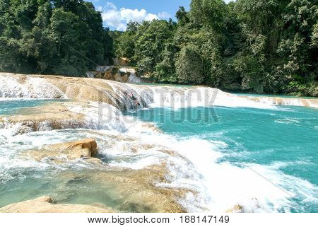 Aqua Azul Waterfall On Chiapas, Mexico