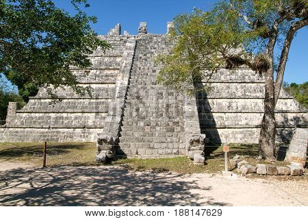 Mayan Pyramid At The Archaeological Site Of Chichen Itza