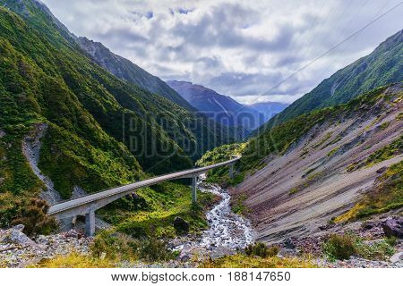 Spectacular view from the lookout of The Otira Viaduct Arthur's Pass National Park South Island of New Zealand