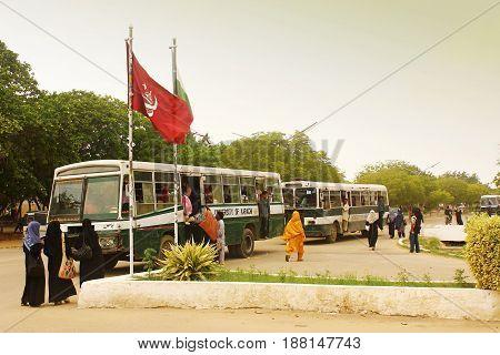 University of Karachi - students traveling in University bus inside Campus 25/09/2012
