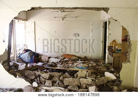 Karachi Pakistan - Damaged buildings after bomb blast at Abbas town - 12/03/2013