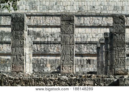 Chechen Itza, Mexico - 24 January 2009: Templo de los Guerreros, Temple of the Warriors at Chichen Itza Yucatan