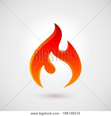 Fire Icon in Trendy Flat Style. Illustration for Design