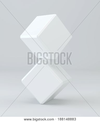 3d white cubes isolated on background. 3d rendering.