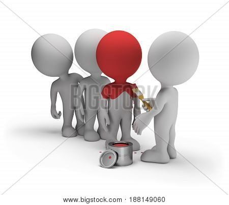 3d man painting leader in red color. 3d image. White background.