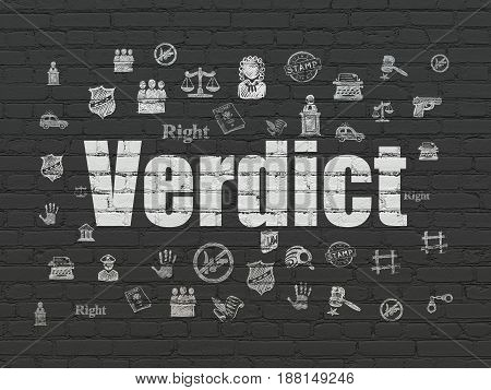 Law concept: Painted white text Verdict on Black Brick wall background with  Hand Drawn Law Icons