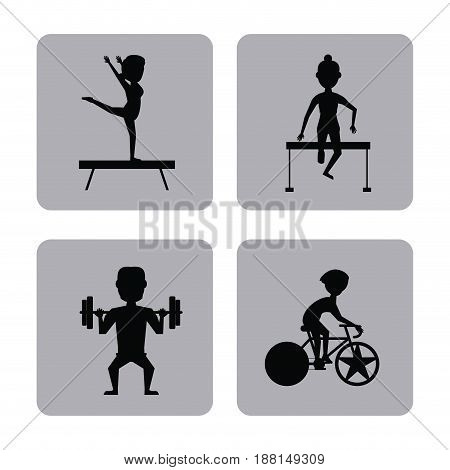monochrome square buttons set of female and male silhouette athletes of differents olympic sports vector illustration