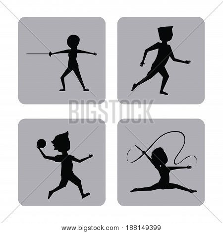 monochrome square buttons set of female and male silhouette athletes of variety sports vector illustration