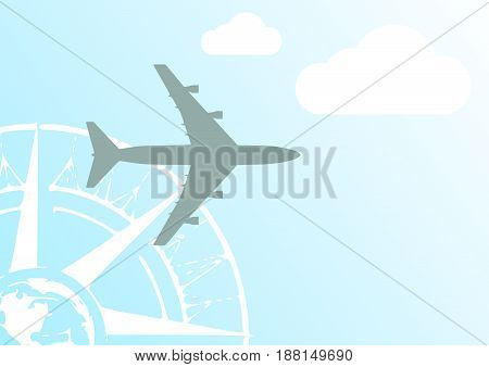 Aircraft with compass rose on a blue sky illustration
