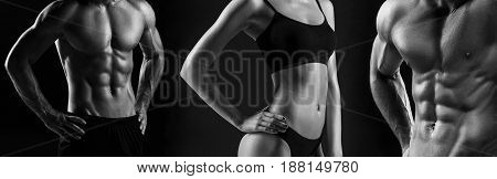 The colorless image of torso of attractive male and female bodys on black studio background.