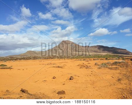 Landscape Fuerteventura Canary islands Spain view from volcano
