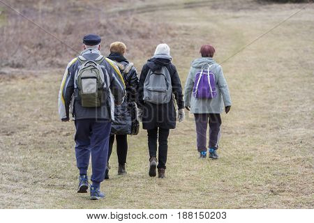 Group of hikers in a walk in nature