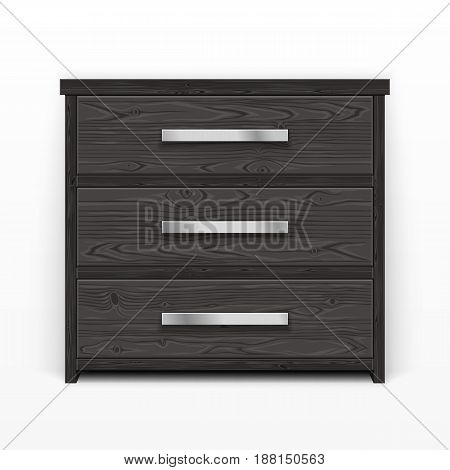 Wooden chest of drawers black. Made of natural materials. Modern style furniture. Clipping paths included.