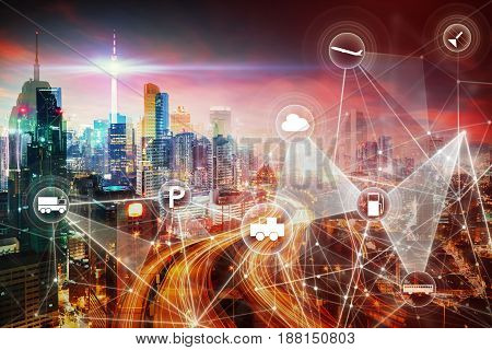 Modern transportation network with city skyline and futuristic city skyscraper image double exposure effect apply . intelligent vehicle and smart transportation connection concept .